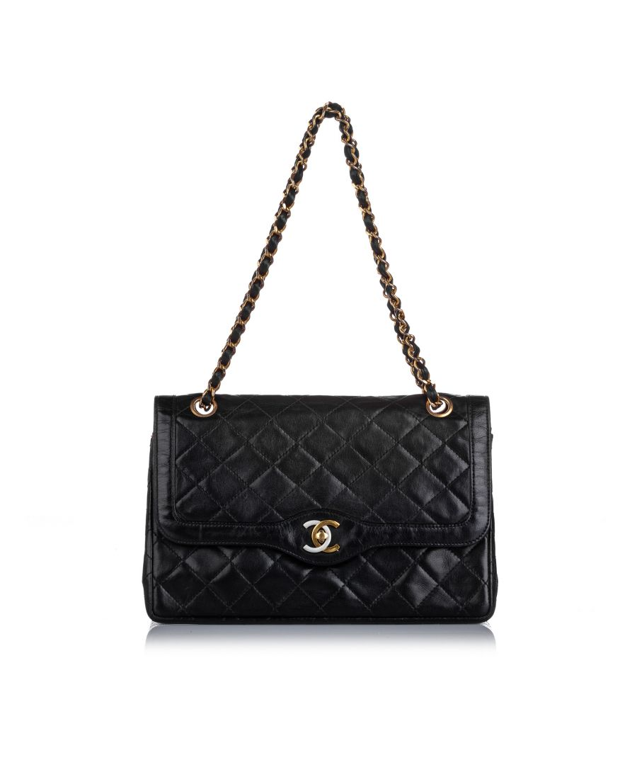 Image for Vintage Chanel Paris Double Flap Bag Black