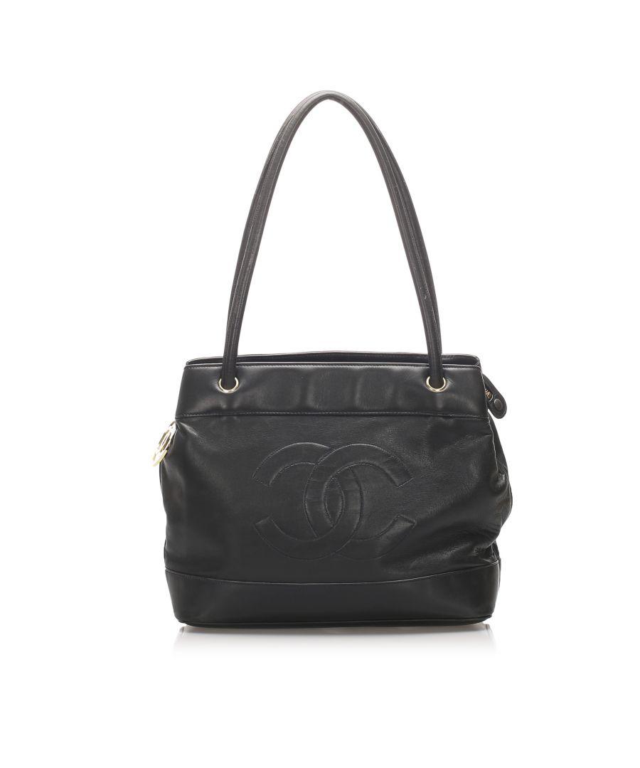 Image for Vintage Chanel CC Lambskin Leather Tote Bag Black