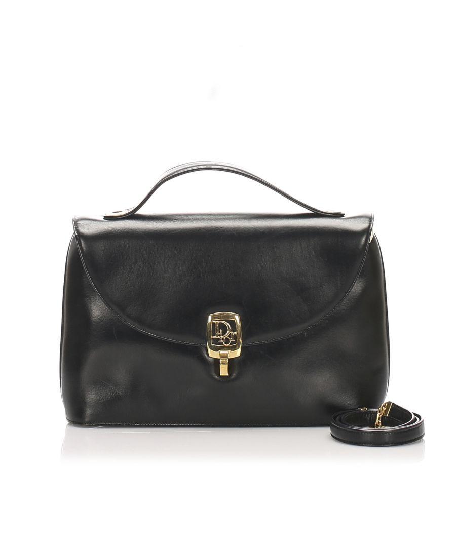 Image for Vintage Dior Leather Handbag Black