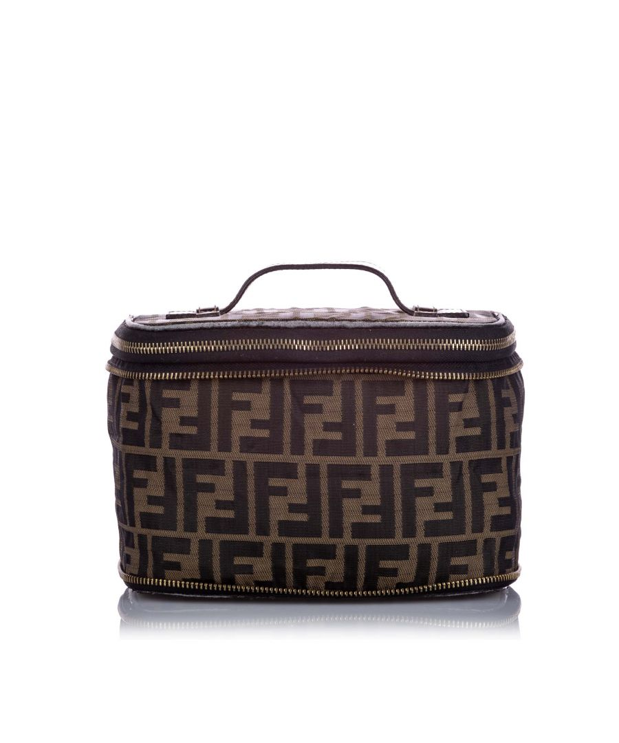 Image for Vintage Fendi Zucca Canvas Vanity Bag Brown