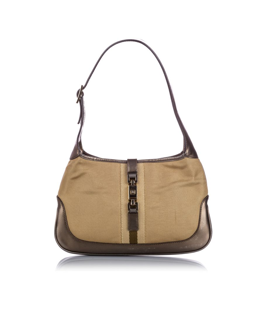 Image for Vintage Gucci Canvas Jackie Shoulder Bag Brown