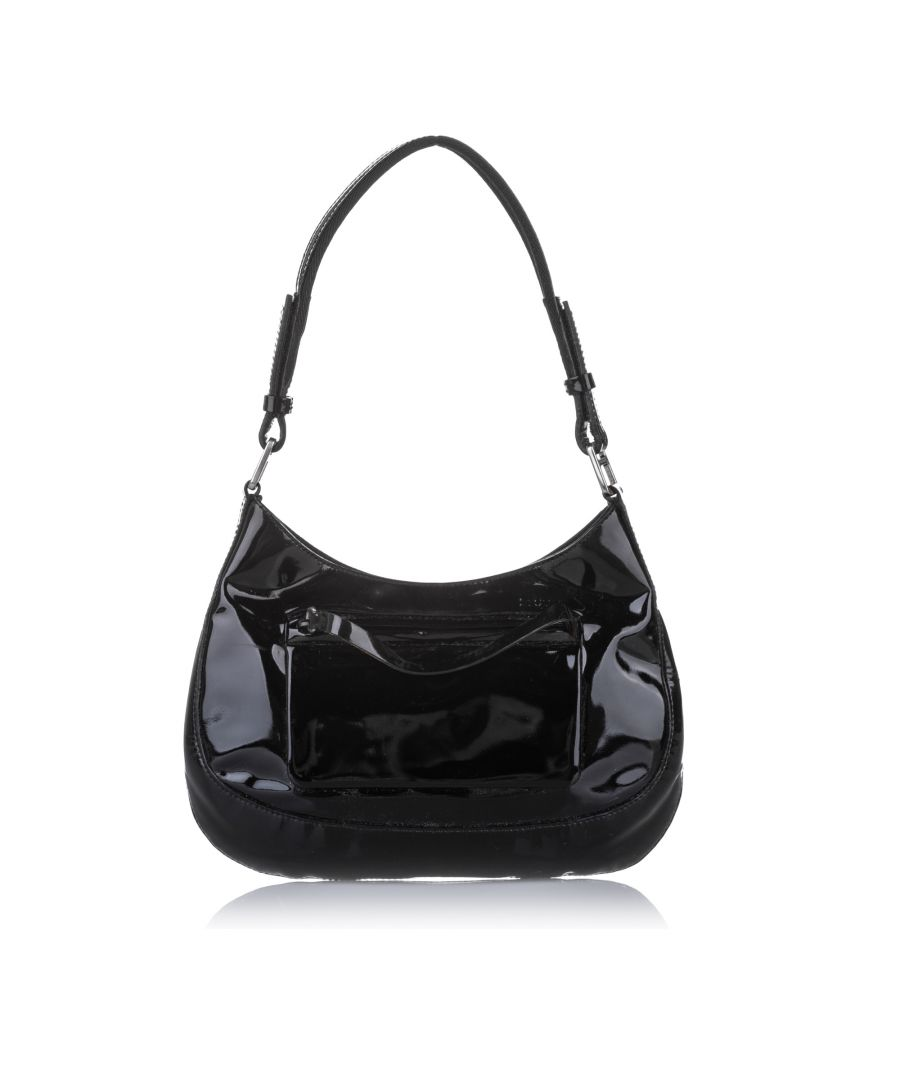 Image for Vintage Prada Patent Leather Baguette Black
