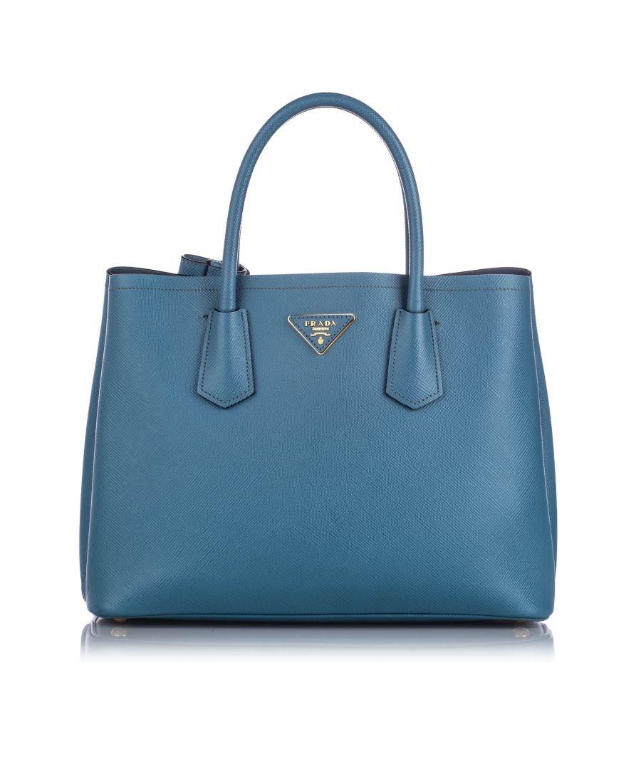 Image for Vintage Prada Saffiano Cuir Twin Satchel Blue