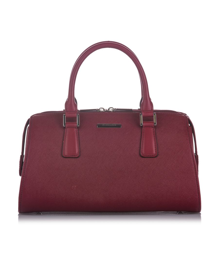 Image for Vintage Burberry Leather Handbag Red