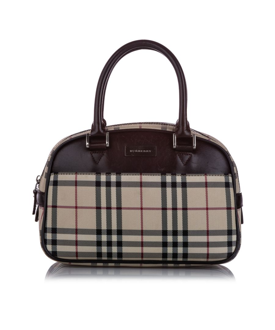 Image for Vintage Burberry House Check Canvas Handbag Brown