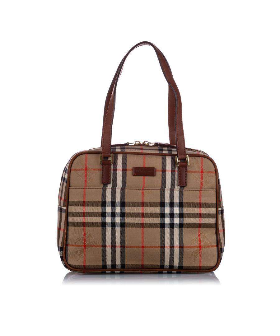 Image for Vintage Burberry Haymarket Check Canvas Shoulder Bag Brown