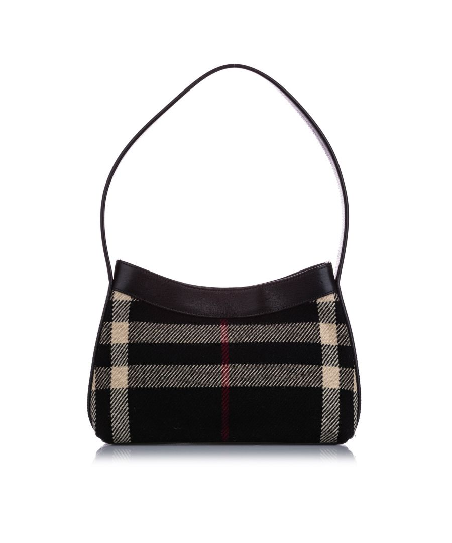 Image for Vintage Burberry Plaid Canvas Shoulder Bag Black