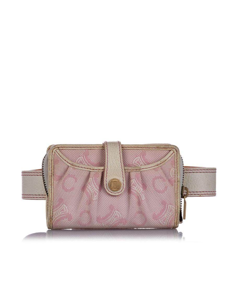 Image for Vintage Celine C Macadam Canvas Belt Bag Pink