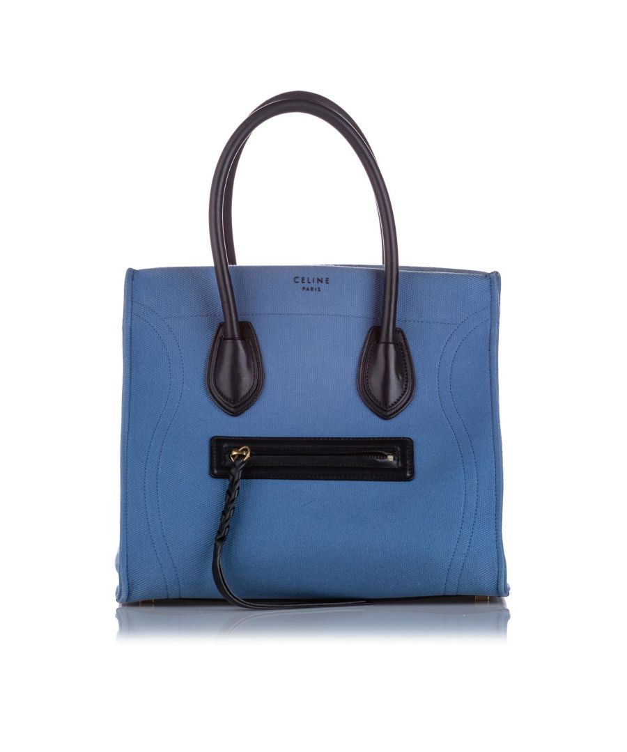 Image for Vintage Celine Small Phantom Canvas Tote Bag Blue