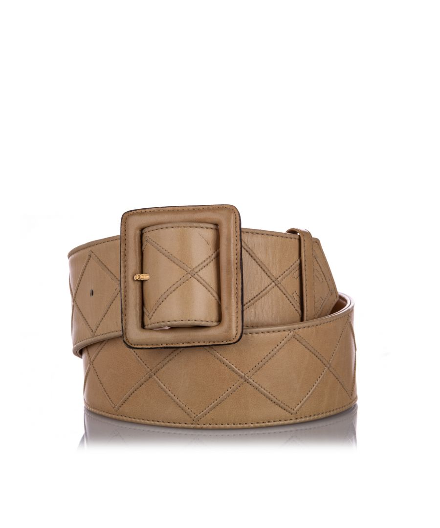 Image for Vintage Chanel Quilted Lambskin Leather Belt Brown