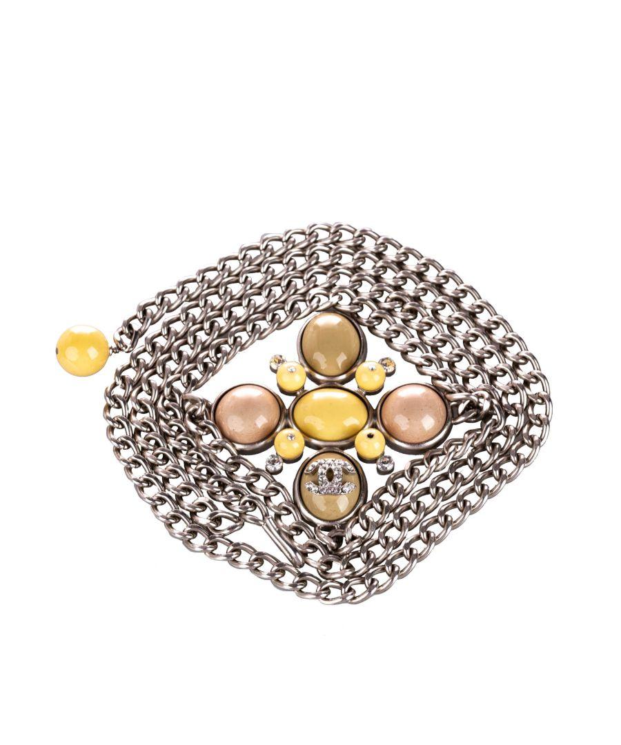 Image for Vintage Chanel Embellished CC Chain Belt Silver