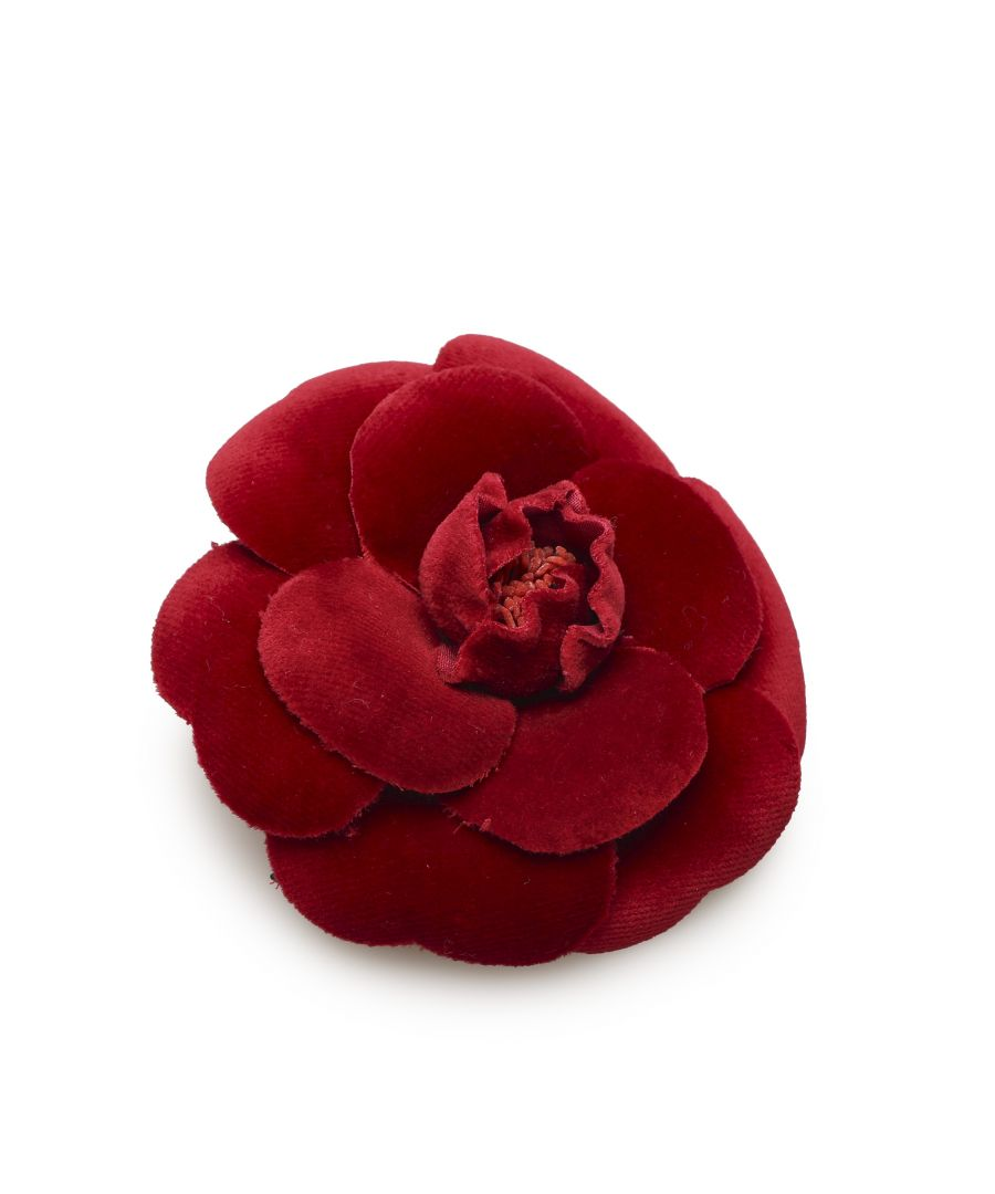 Image for Vintage Chanel Camellia Velour Brooch Red