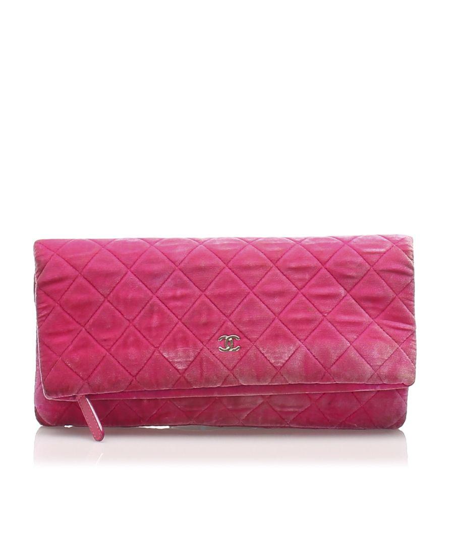 Image for Vintage Chanel Matelasse Velour Clutch Bag Pink