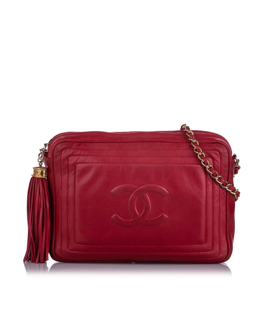 Image for Vintage Chanel CC Lambskin Crossbody Bag Red