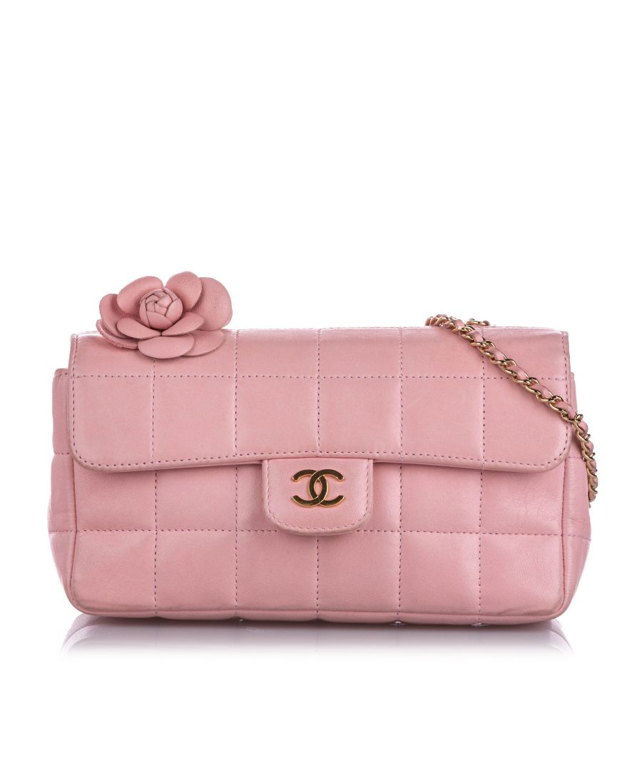 Image for Vintage Chanel Choco Bar Camellia Lambskin Leather Chain Crossbody Bag Pink