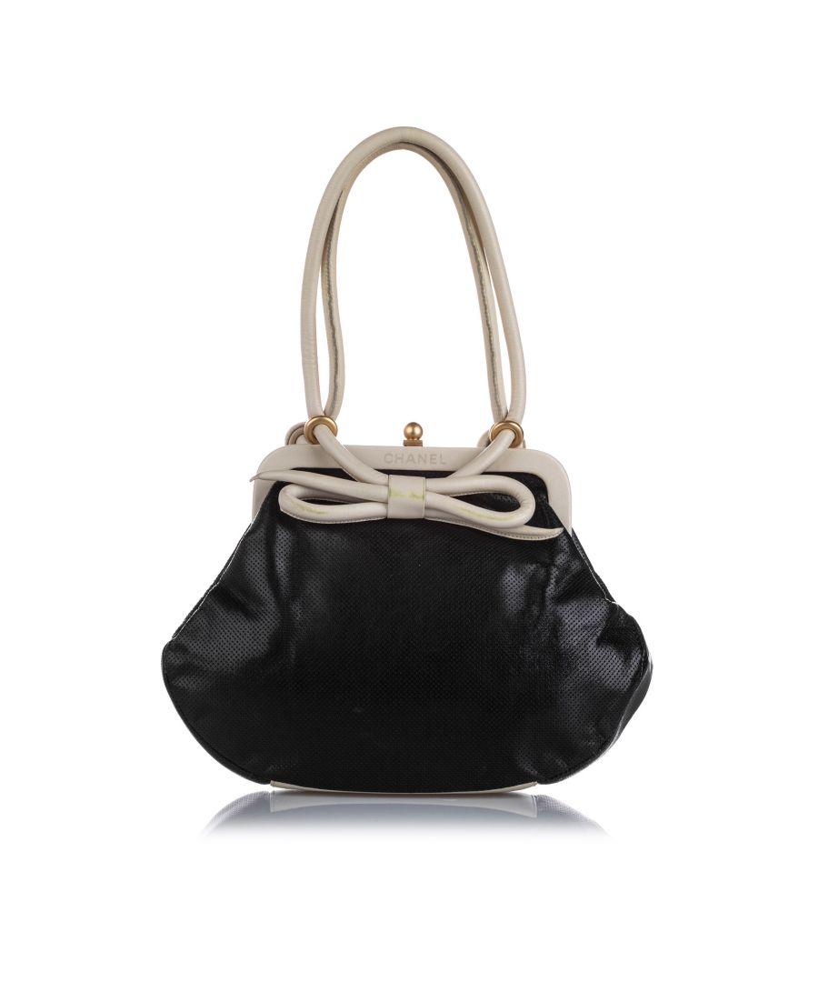 Image for Vintage Chanel Perforated Leather Handbag Black