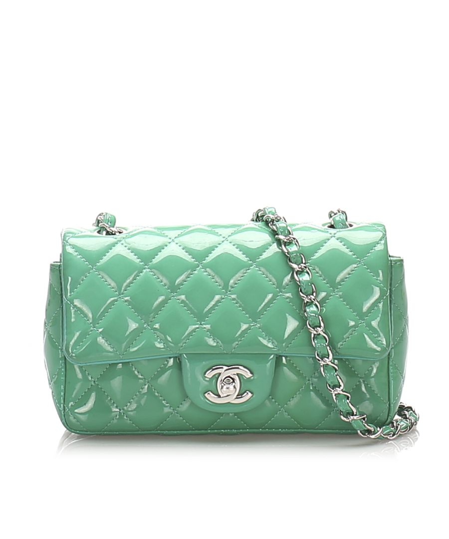 Image for Vintage Chanel Classic New Mini Patent Leather Flap Bag Green