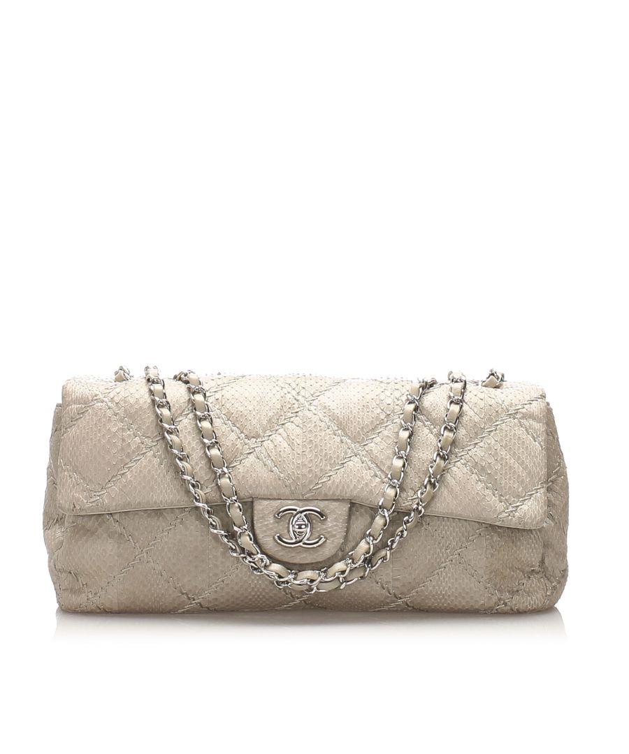 Image for Vintage Chanel Classic East West Ultra Stitch Snake Skin Single Flap Bag White