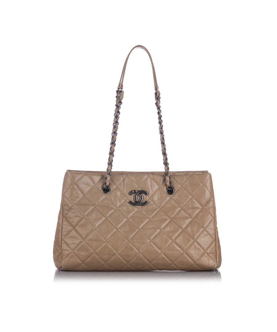 Image for Vintage Chanel CC Quilted Leather Shoulder Bag Brown