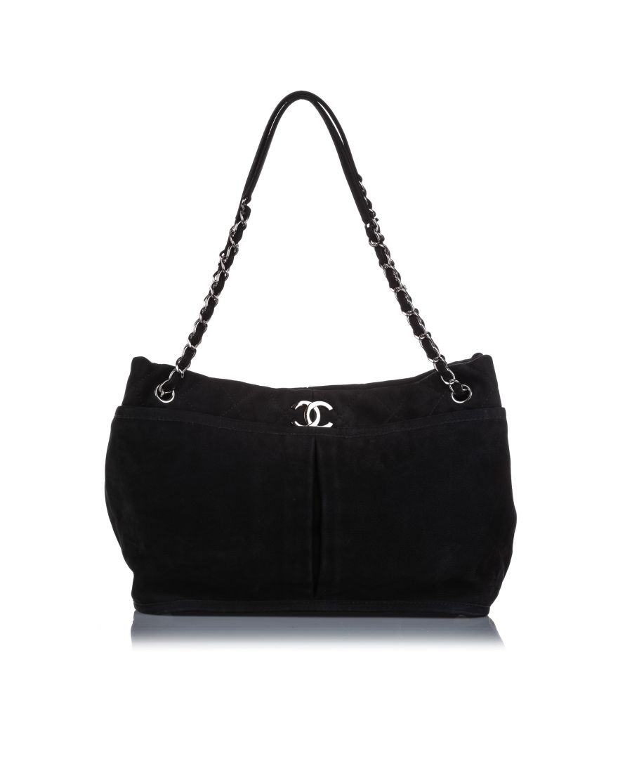 Image for Vintage Chanel Natural Beauty Nubuck Shoulder Bag Black