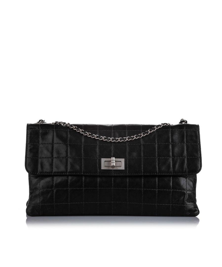 Image for Vintage Chanel Choco Bar Reissue Lambskin Leather Shoulder Bag Black