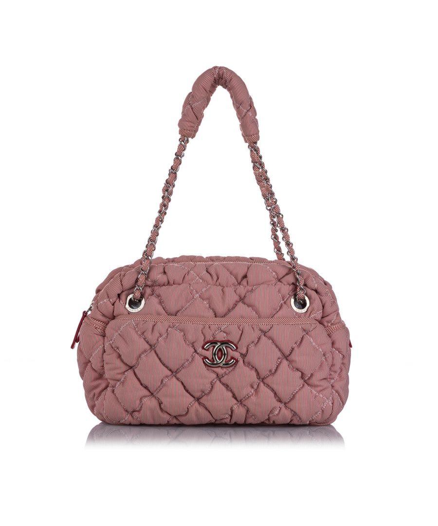 Image for Vintage Chanel Classic Bubble Nylon Shoulder Bag Pink