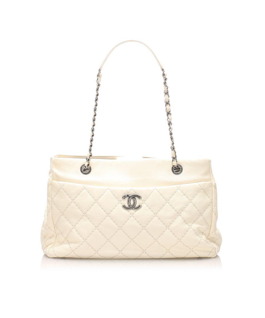 Image for Vintage Chanel Wild Stitch Leather Shoulder Bag White