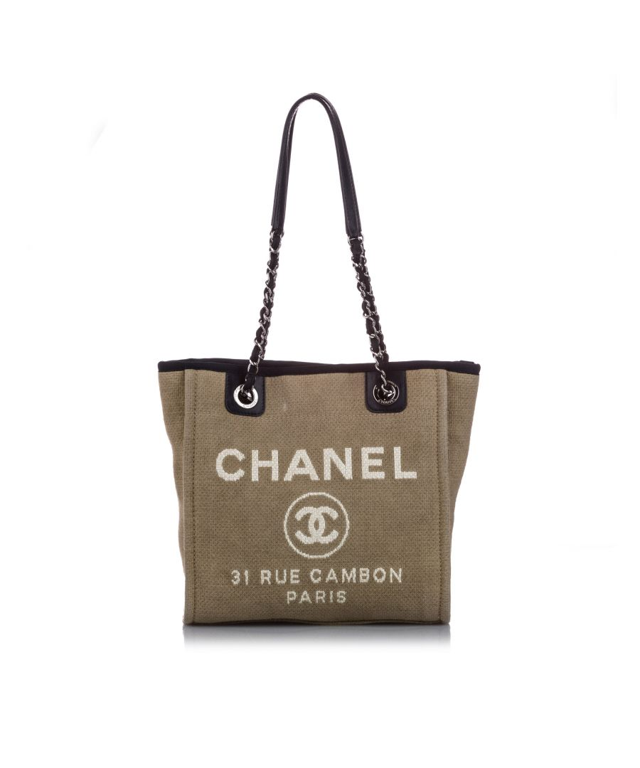 Image for Vintage Chanel Large Deauville Canvas Tote Bag Brown