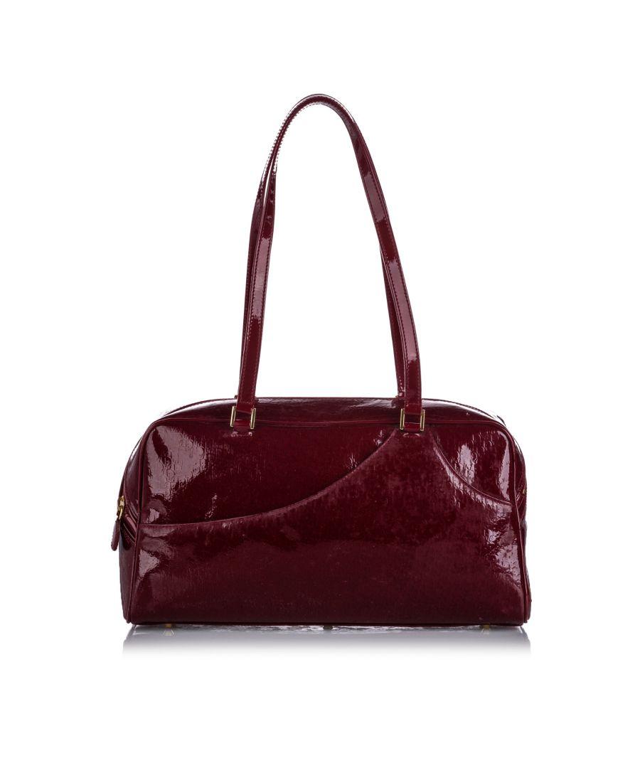 Image for Vintage Dior Dior Oblique Patent Leather Shoulder Bag Red
