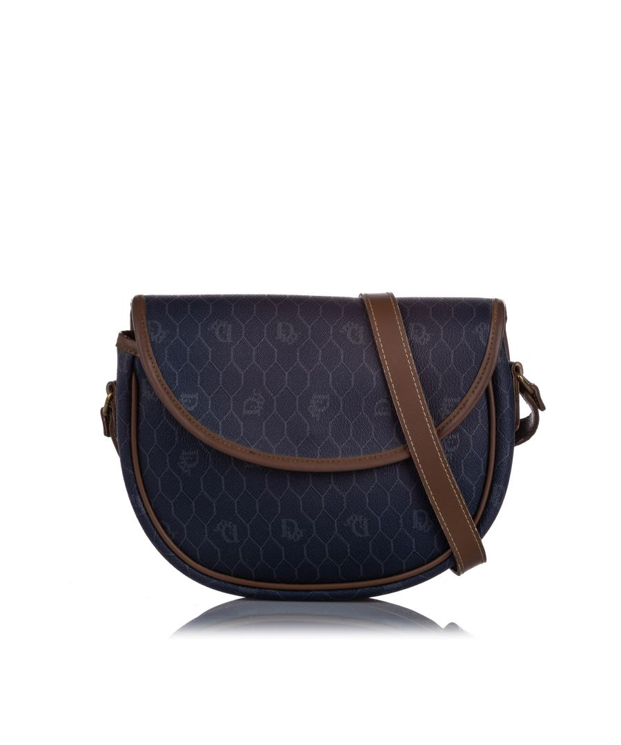 Image for Vintage Dior Honeycomb Coated Canvas Crossbody Bag Blue