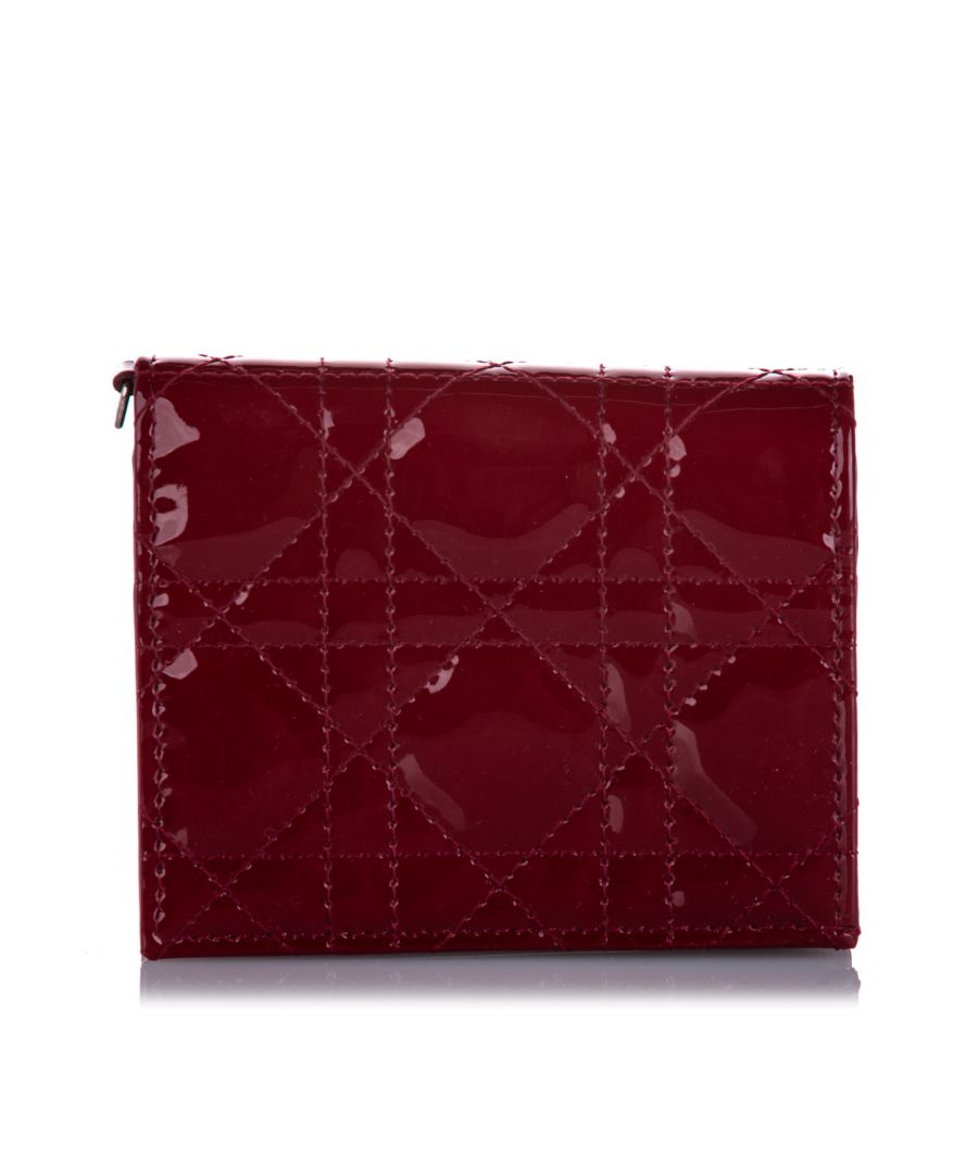 Image for Vintage Dior Cannage Patent Leather Wallet Red