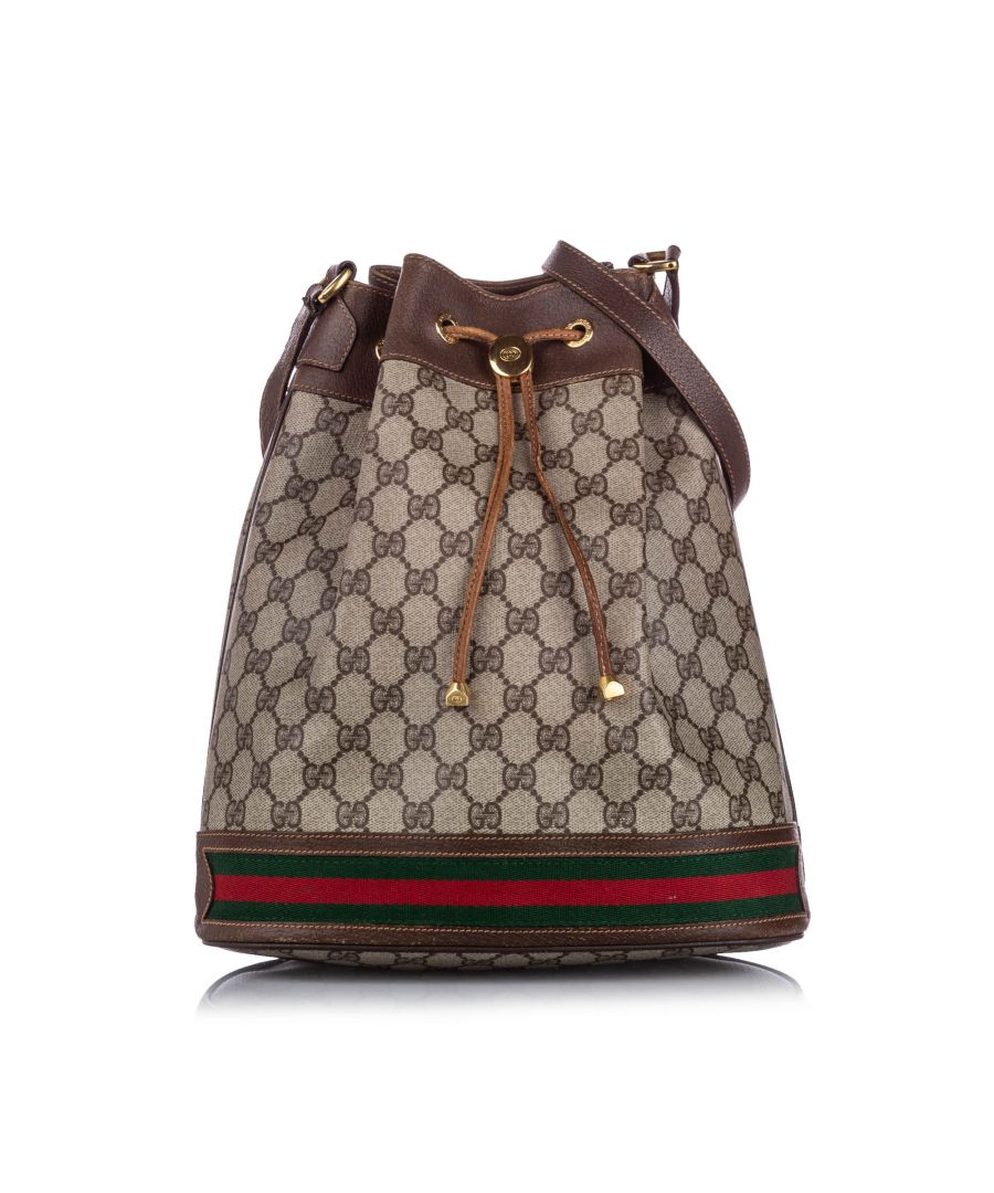 Image for Vintage Gucci GG Supreme Ophidia Bucket Bag Brown