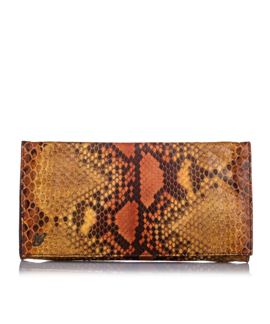 Image for Vintage Gucci Embossed Leather Clutch Bag Brown