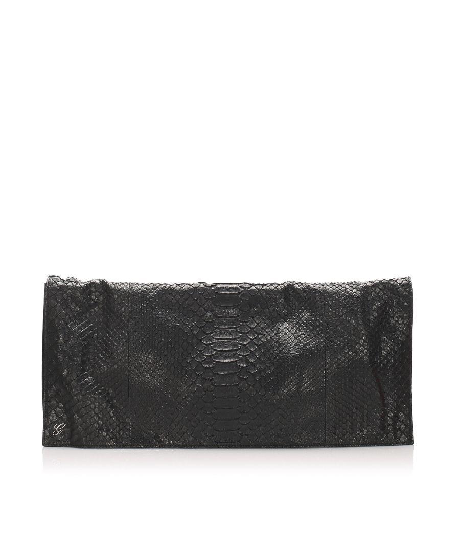 Image for Vintage Gucci Python Clutch Bag Black