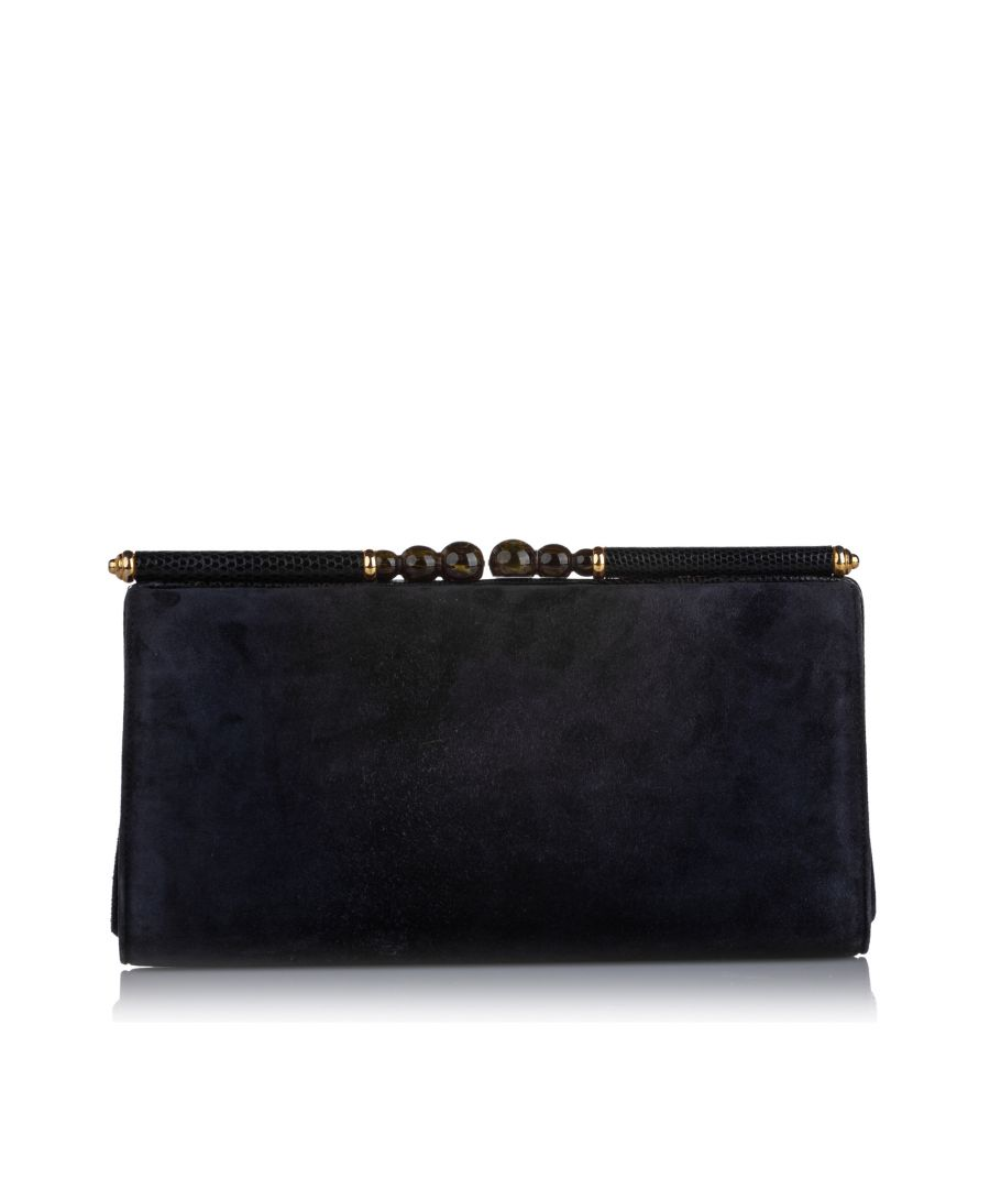 Image for Vintage Gucci Suede Clutch Bag Blue