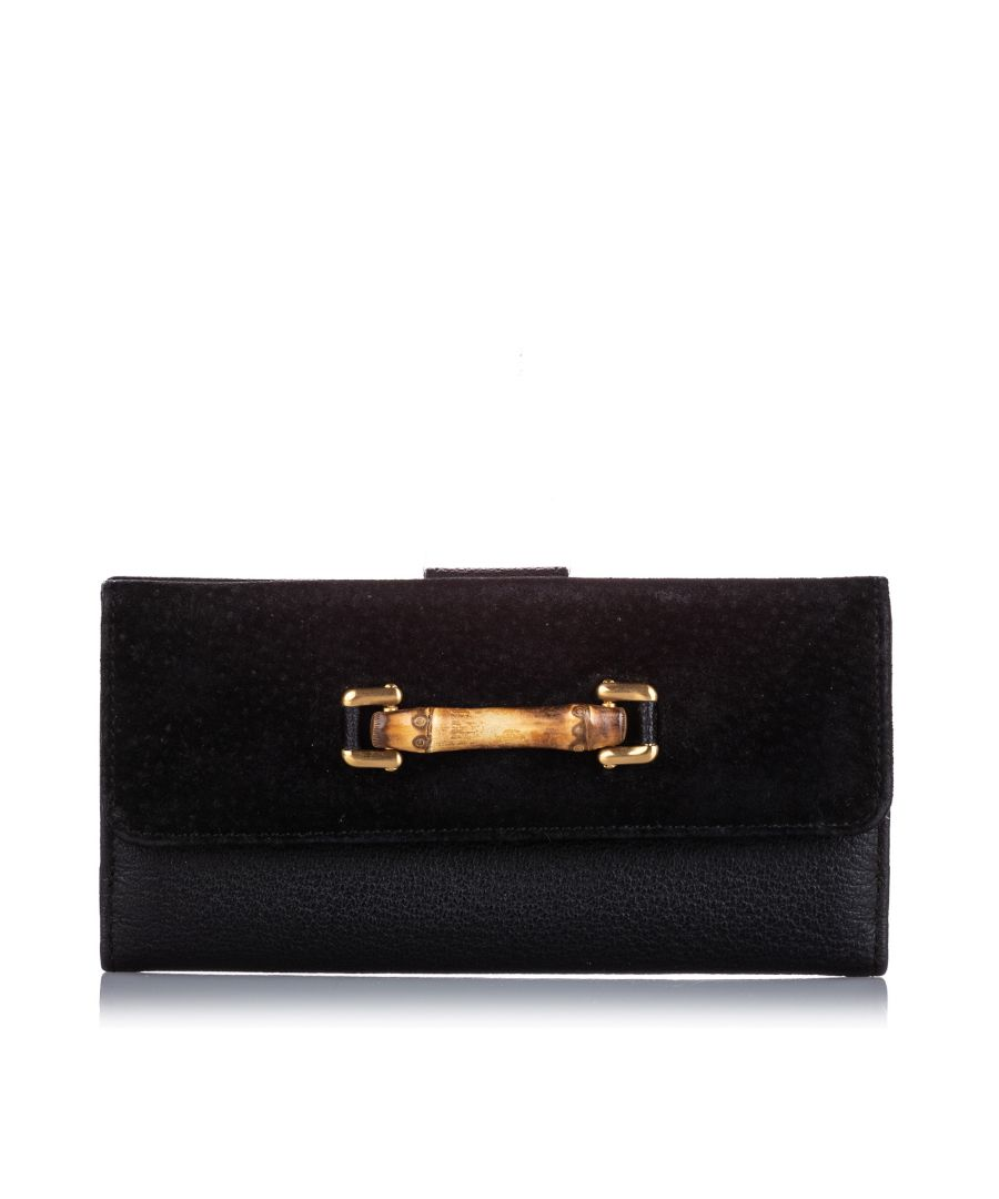 Image for Vintage Gucci Bamboo Suede Wallet Black