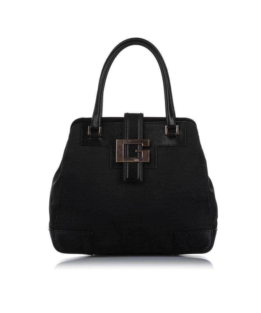 Image for Vintage Gucci Canvas Handbag Black