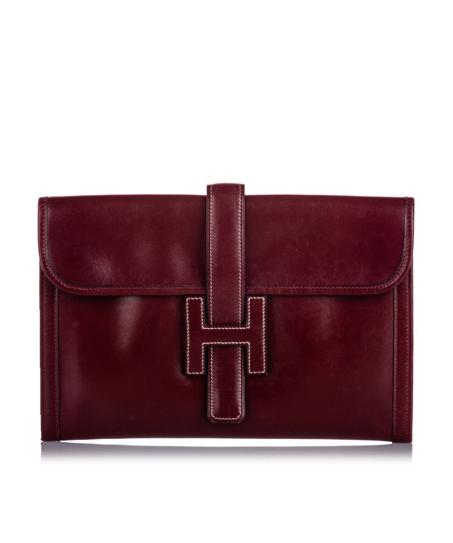 Image for Vintage Hermes Leather Jige PM Clutch Bag Red