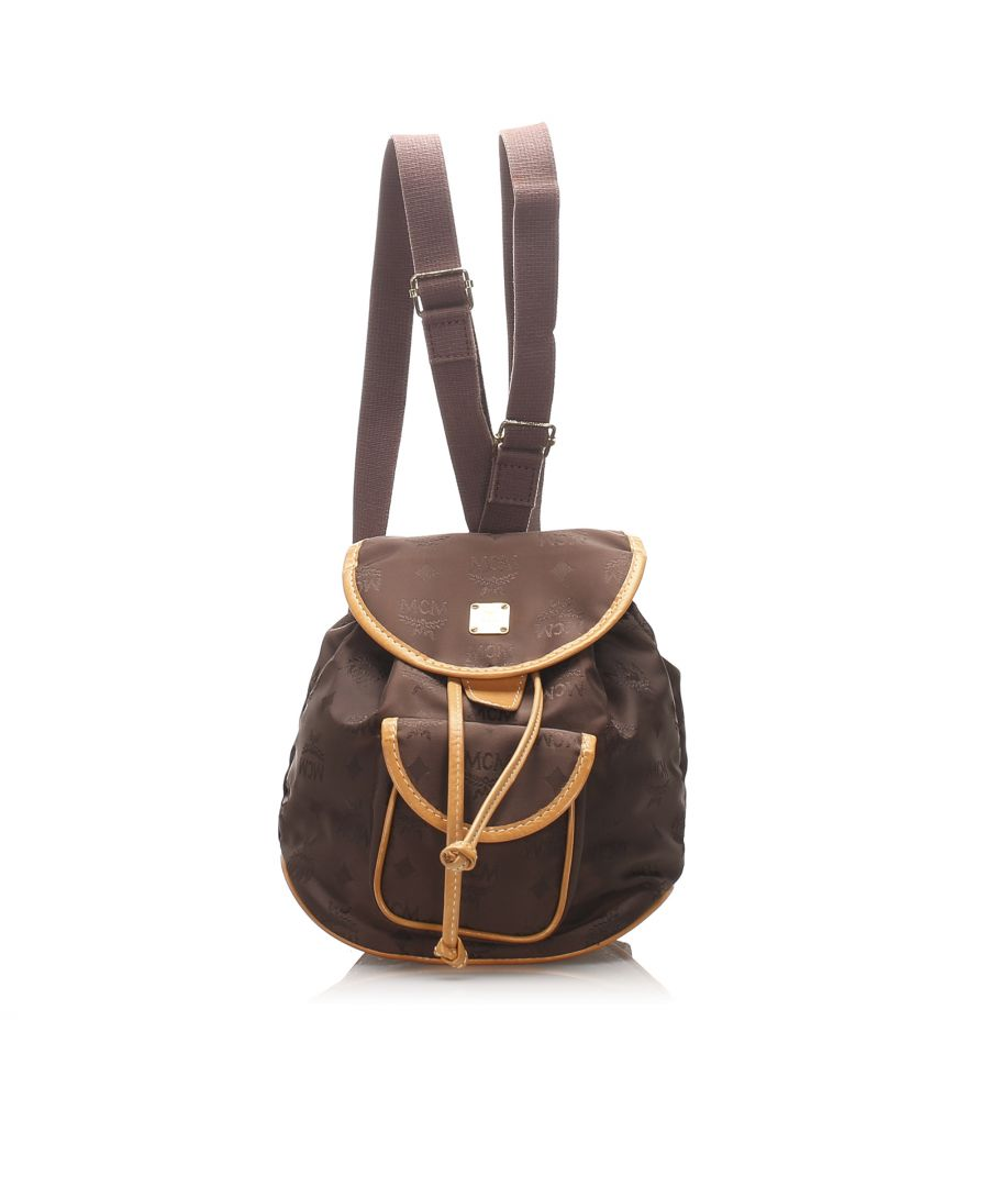 Image for Vintage MCM Visetos Nylon Drawstring Backpack Brown