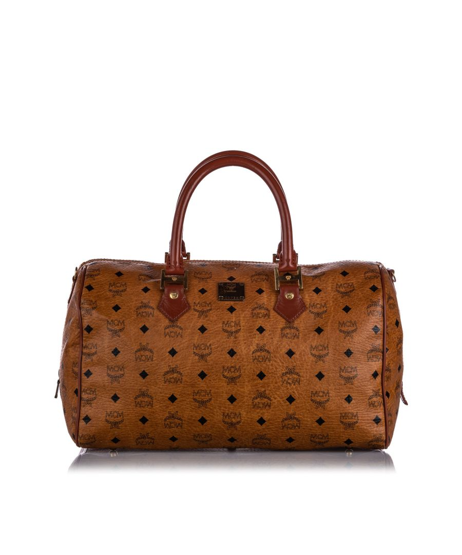 Image for Vintage MCM Visetos Leather Boston Bag Brown