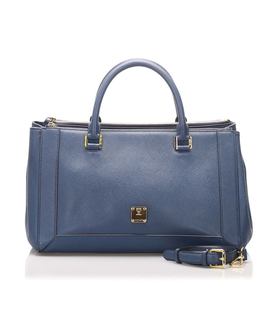 Image for Vintage MCM Leather Handbag Blue