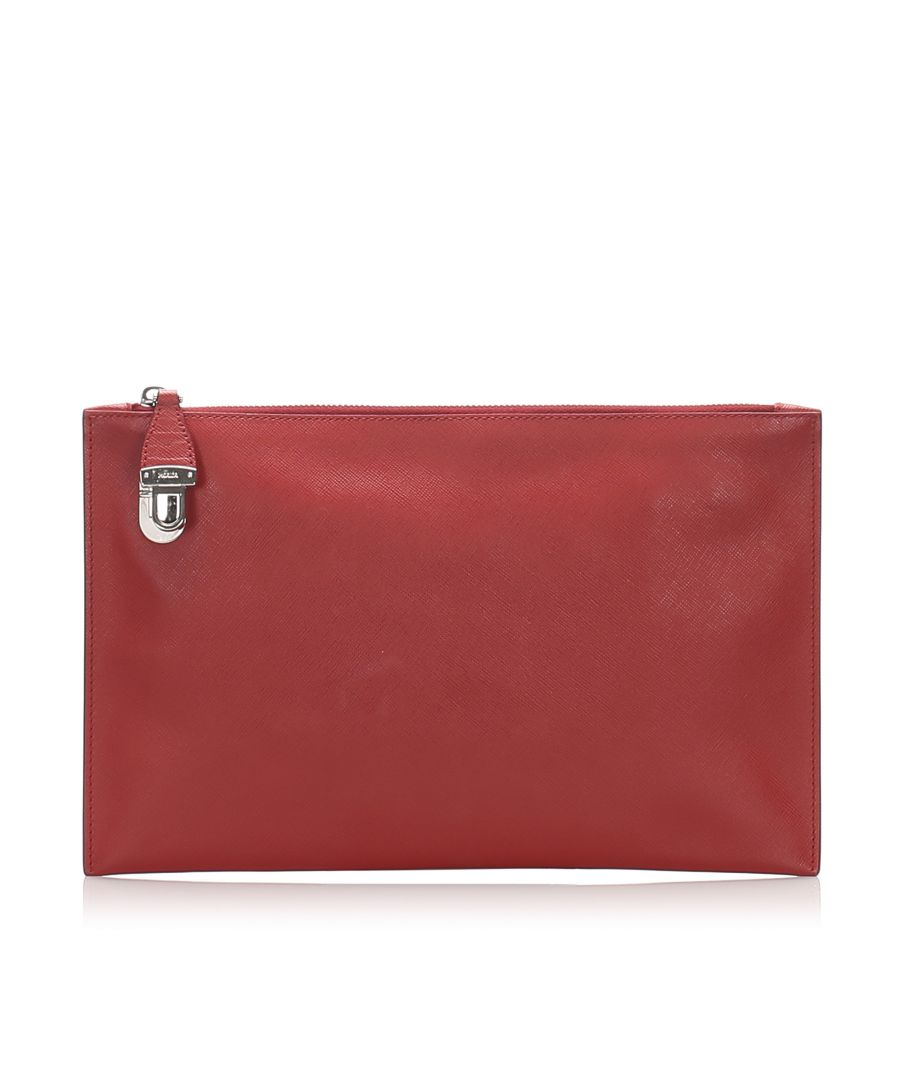Image for Vintage Prada Saffiano Clutch Bag Red