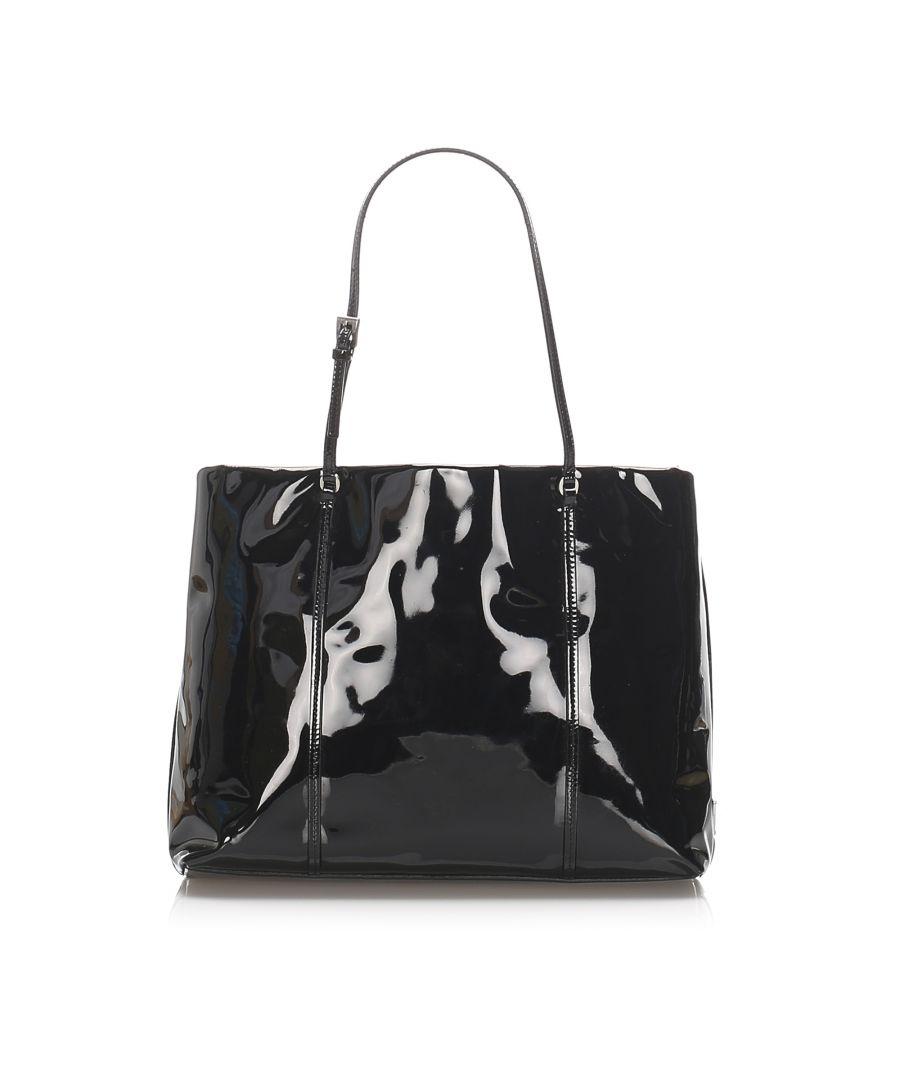 Image for Vintage Prada Patent Leather Handbag Black