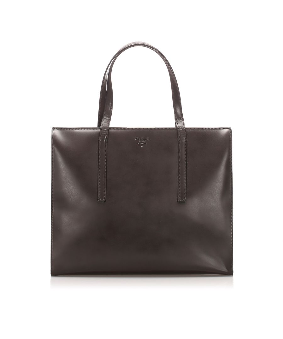 Image for Vintage Prada Patent Leather Tote Bag Brown