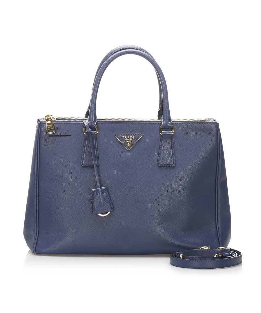 Image for Vintage Prada Saffiano Lux Galleria Satchel Blue