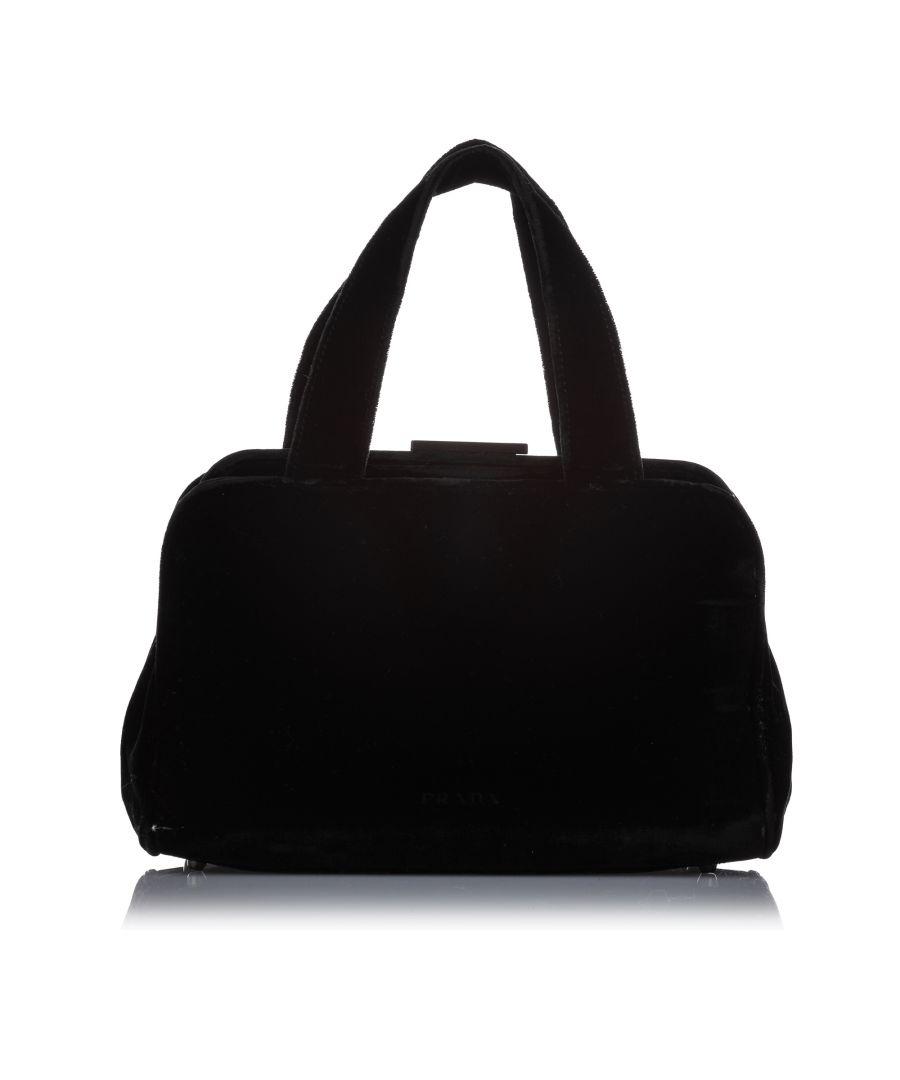 Image for Vintage Prada Wool Handbag Black