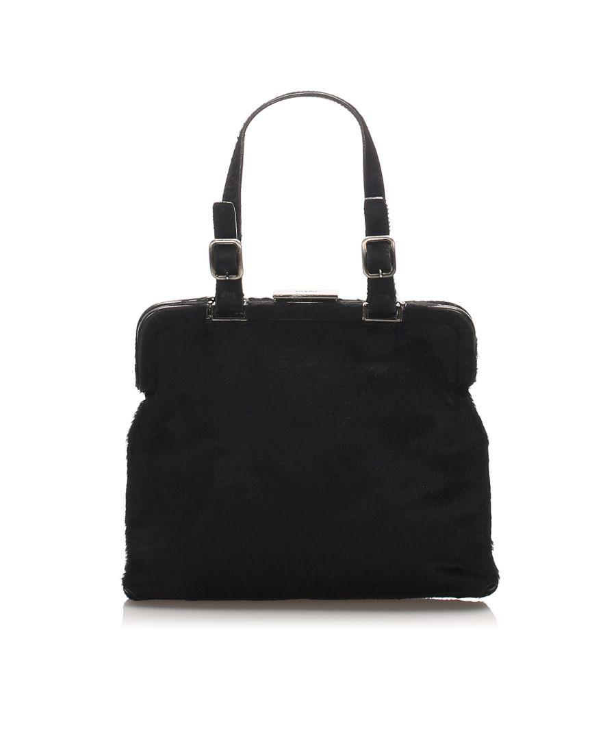 Image for Vintage Prada Pony Hair Frame Handbag Black