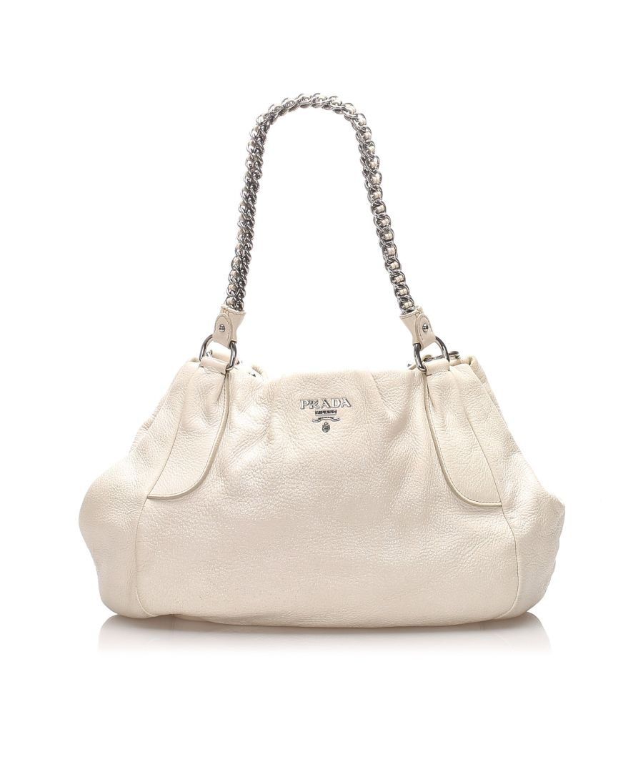 Image for Vintage Prada Vitello Daino Chain Shoulder Bag White