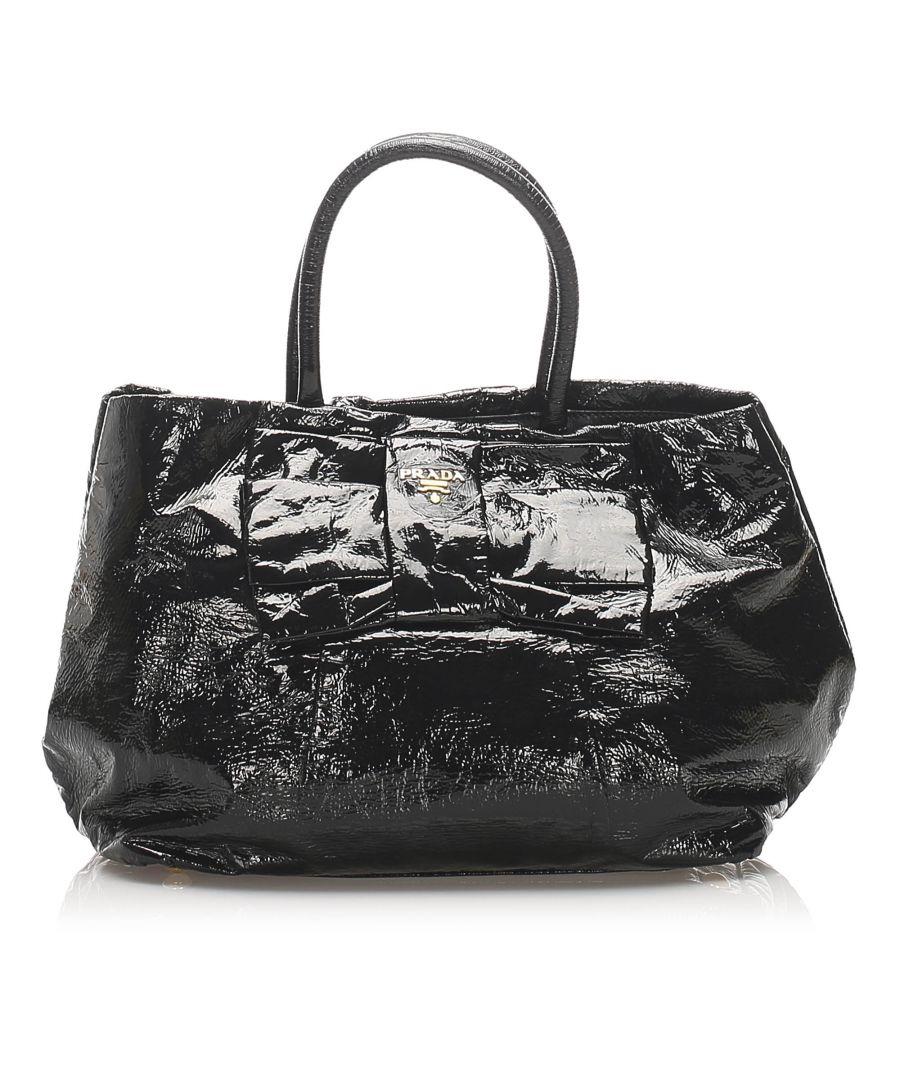 Image for Vintage Prada Patent Leather Bow Tote Bag Black