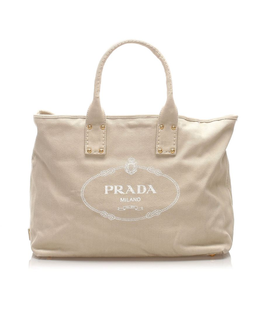 Image for Vintage Prada Canapa Canvas Tote Bag White
